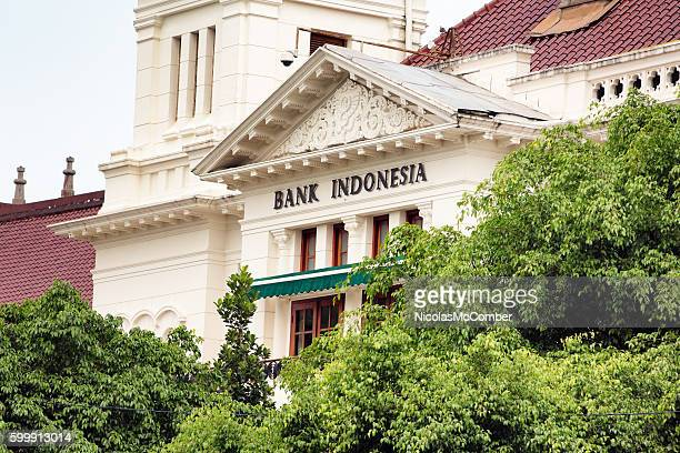 Colonial building hosting bank of Indonesia with sign