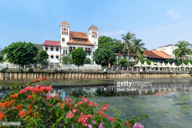 Colonial buildings along canal of Kali Besar, Kota, Jakarta, Java, Indonesia