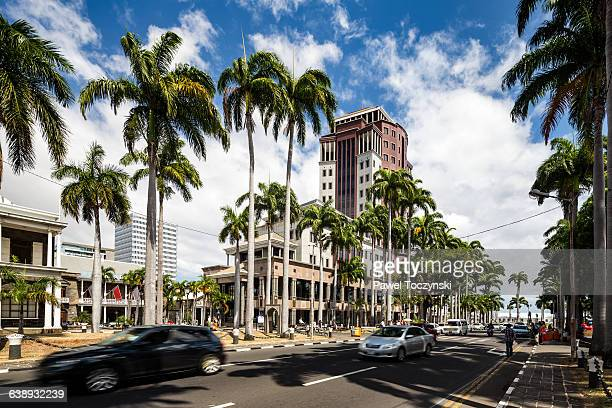 colonial buildings in place d'armes, port louis - port louis stock photos and pictures