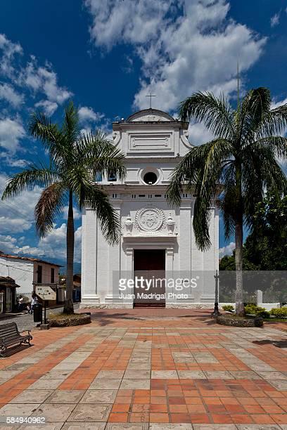 colonial church in santa fe de antioquia - antioquia stock pictures, royalty-free photos & images