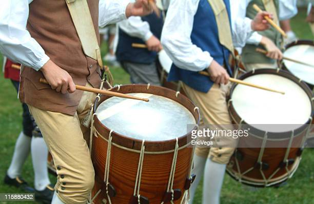 colonial drum corp - colonialism stock photos and pictures