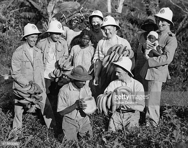 Colonial forces on a banana plantation in the Tropics