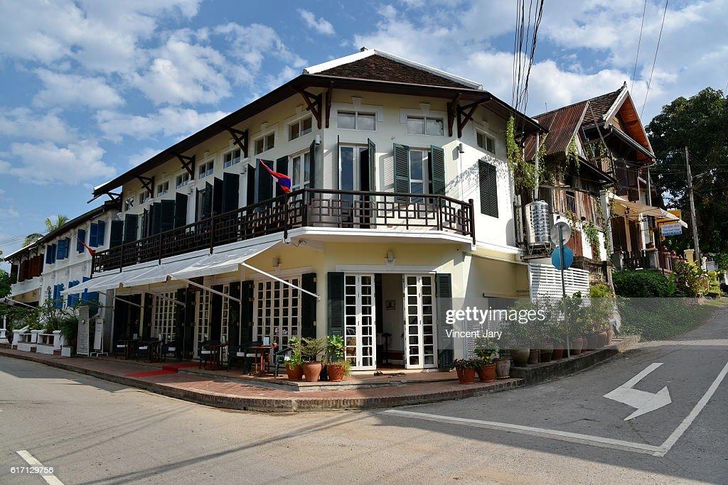 Colonial House Luang Prabang Street Laos Asia Stock Photo