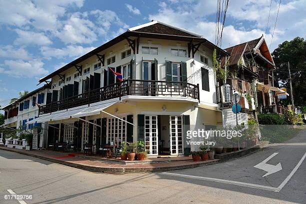 Colonial house Luang prabang street Laos Asia