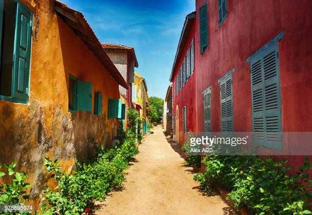 colonial houses, goree island, dekar, senegal - senegal stock pictures, royalty-free photos & images