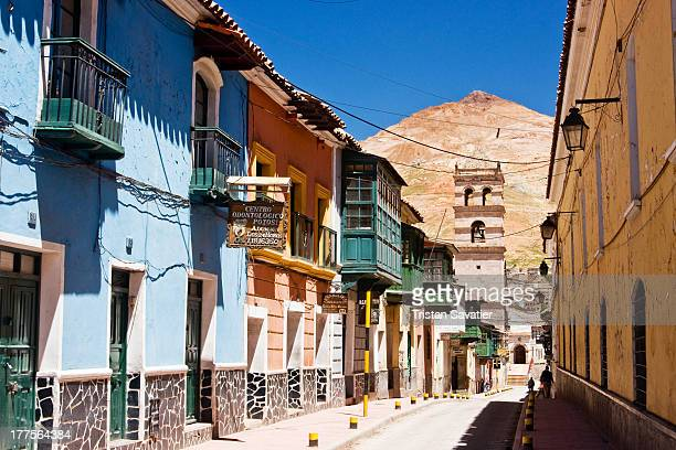 CONTENT] Colonial houses in the Calle Tarija and in the back the Cerro Rico mountain that dominates the city Potosí