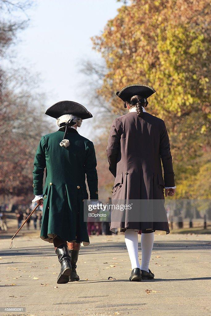 Colonial men in Williamsburg, Va : Stock Photo