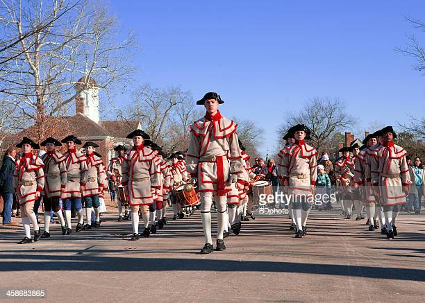 colonial musicians in williamsburg, va - colonial williamsburg stock photos and pictures