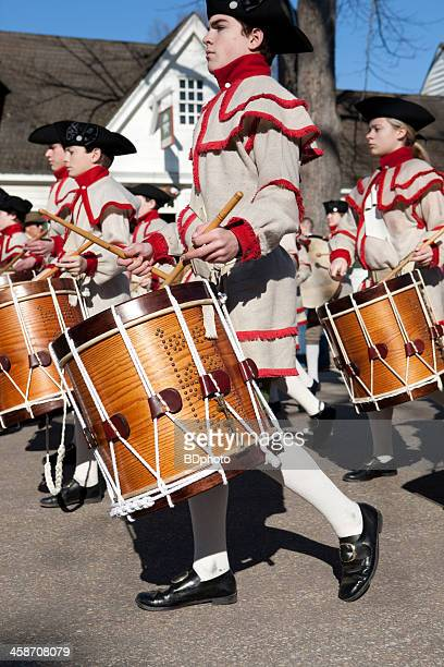 colonial musicians in williamsburg, va - williamsburg virginia stock pictures, royalty-free photos & images