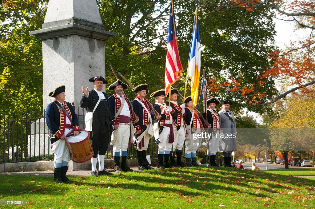 Colonial Reenactors commemorate the Battle at Lexington Green : Stock Photo