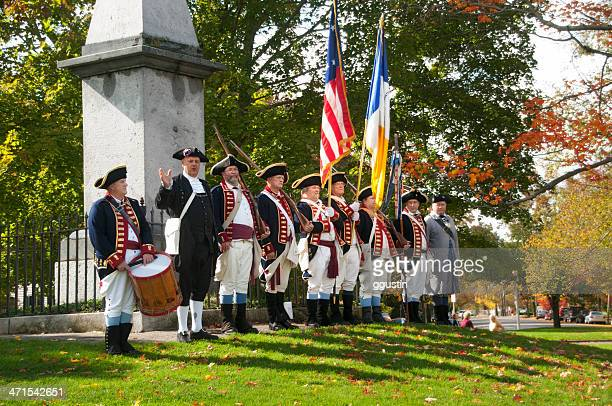Colonial Reenactors commemorate the Battle at Lexington Green