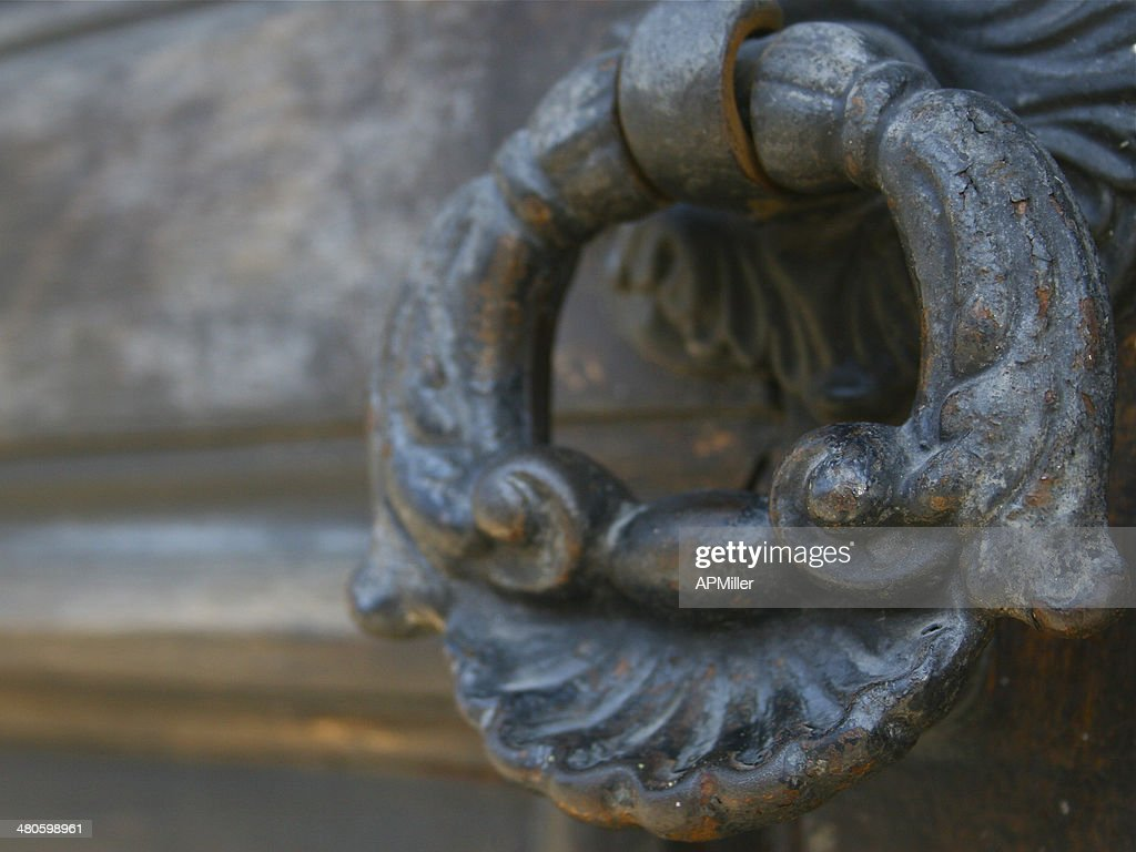 Colonial, Rustic Antique Iron Door Handle or Knocker : Stock Photo