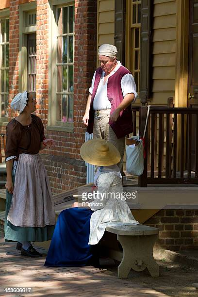 colonial scene in williamsburg, virginia - colonial williamsburg stock photos and pictures