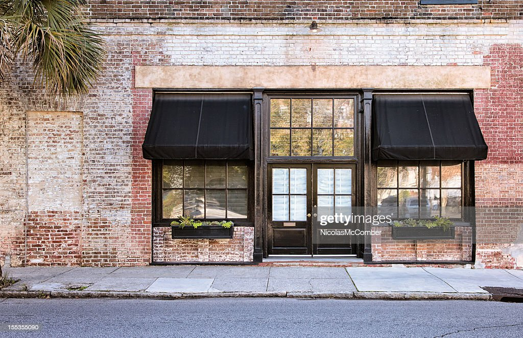 Colonial Storefront with awnings : Stock Photo
