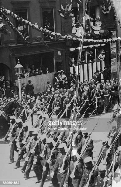 Colonial troops marching in Queen Victoria's Diamond Jubilee procession on Borough High Street London on their return to Buckingham Palace after a...
