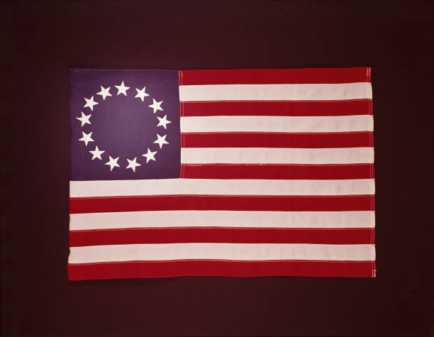 Colonial US flag, showing 13 stars.