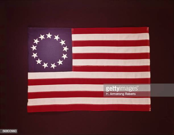 1950s: 1776 Colonial US flag, showing 13 stars.