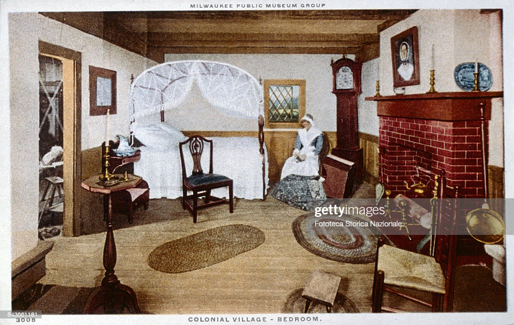 Colonial Village. Bedroom In A Typical American Colonial House .  Characteristic The Furniture And The