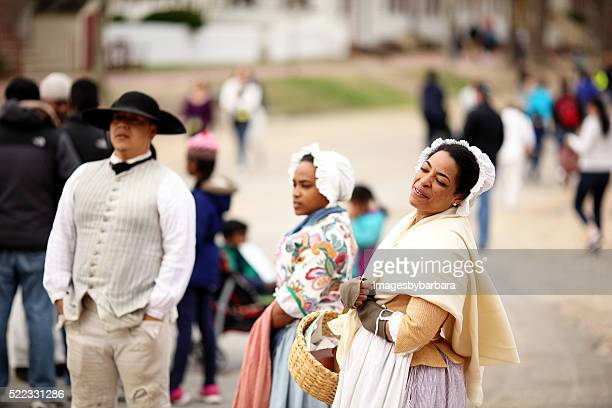 colonial williamsburg reenactment - colonial america stock photos and pictures