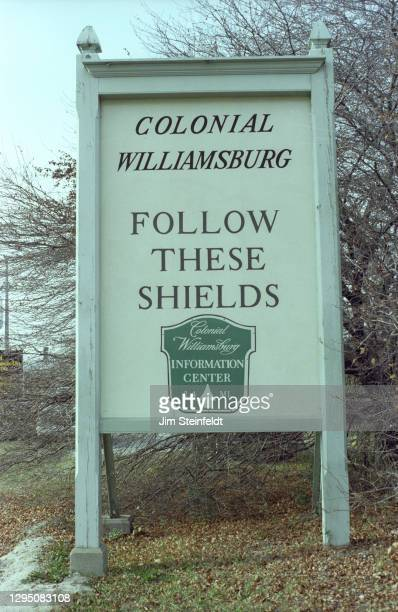 Colonial Williamsburg sign in Williamsburg, Virginia on November 1, 1981.