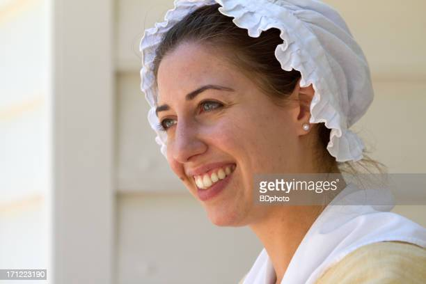 colonial woman in williamsburg, va - colonial america stock photos and pictures