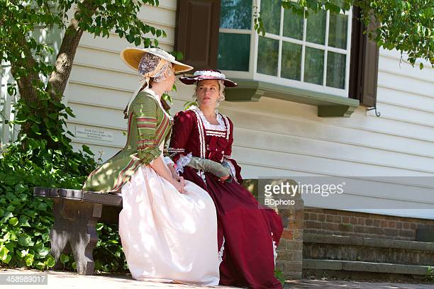 colonial women in williamsburg, va - colonial style stock pictures, royalty-free photos & images