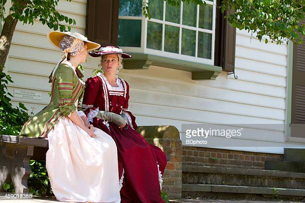 colonial women in williamsburg, va - williamsburg virginia stock pictures, royalty-free photos & images