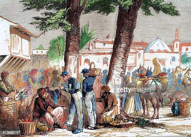 Colonialism France 19th century Soldiers in the Syrian market Engraving of L'Illustration 1860