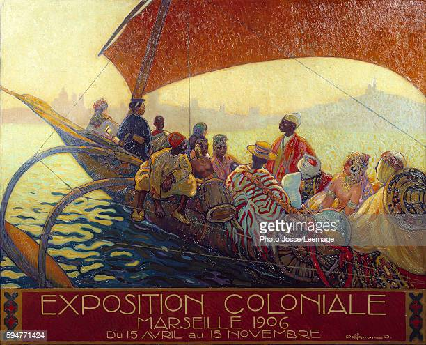 poster for The National Colonial Exhibition in Marseille by David Dellepiane 1906 Marine Museum Marseille France