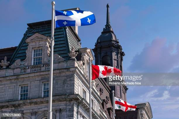 colonial-style city hall building in old montreal, canada - montreal stock pictures, royalty-free photos & images