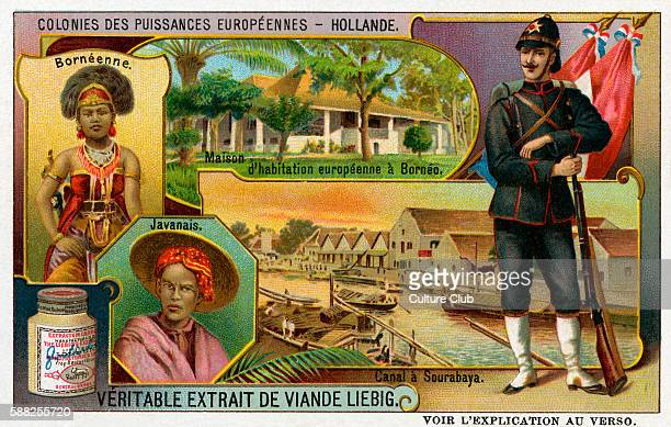 Holland Showing Bornean woman Javan man and Dutch soldier Liebig Collectible Cards Series Colonies des Puissances Européennes African colonies