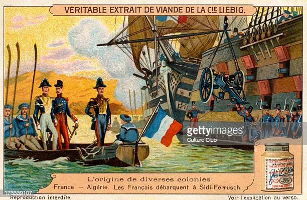 Colonisation of Algeria: the French landing in Algeria in a coastal town of Sidi Ferruch in 1830. .