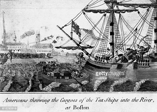 Colonists dump tea into Boston Harbor in protest of the British tea tax on December 16 an act which became known as the Boston Tea Party Engraving in...