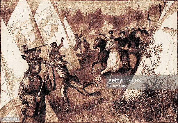 Colonists invading a Native American camp published in 1887 The caption reads 'Charging an Indian camp'