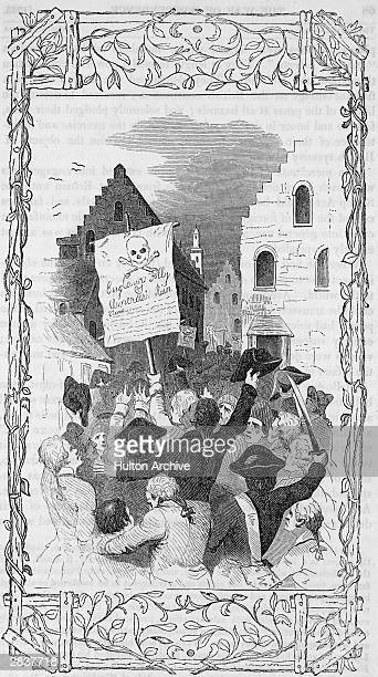 Colonists protest the Stamp Act imposed by England on the American colonies and hold aloft a banner 'Englands Folly Americas Ruin' in New York...