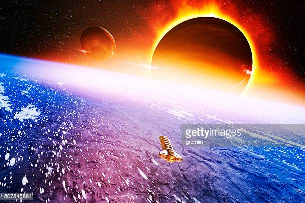 colonization ship approaching distant exo planet - extrasolar planet stock pictures, royalty-free photos & images