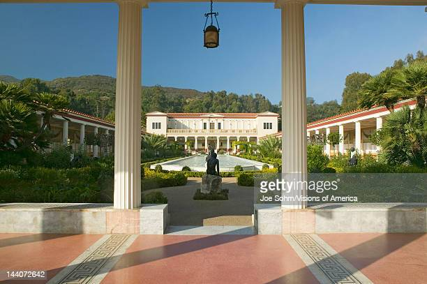 Colonnade and long pool of the Getty Villa Malibu Villa of the J Paul Getty Museum in Los Angeles California