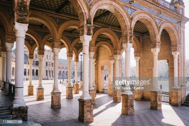 colonnade at plaza de espana - seville stock pictures, royalty-free photos & images
