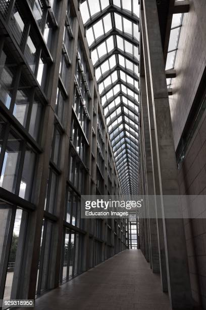 Colonnade entrance ramp to the Great Hall atrium of the National Gallery of Canada Ottawa.