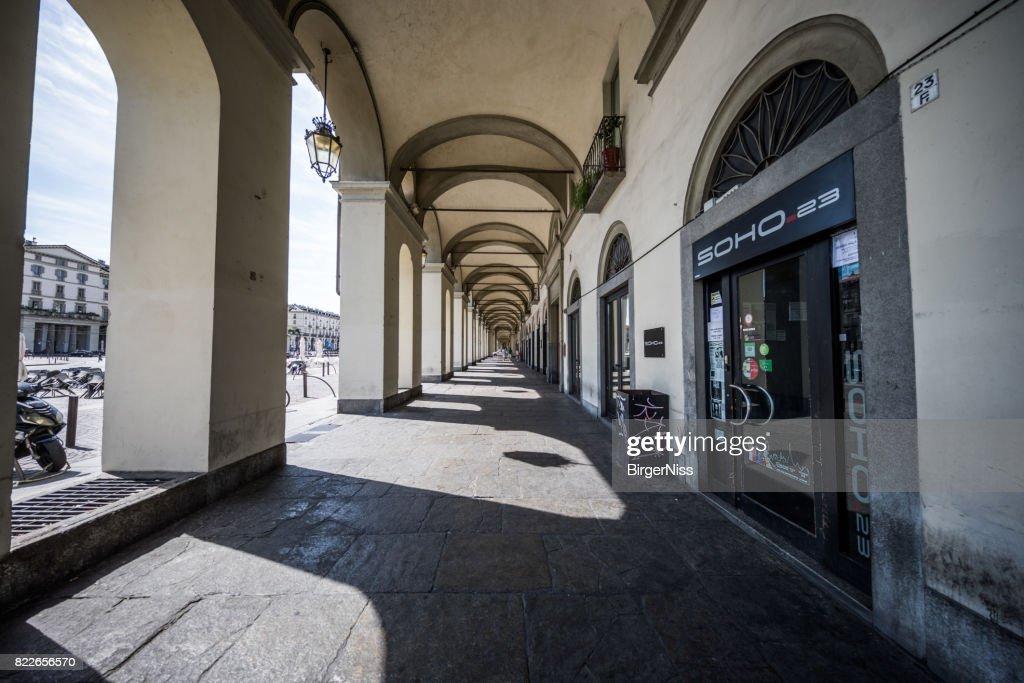 Colonnade in Piazza Vittorio Veneto, Torino, Italy : Stock Photo