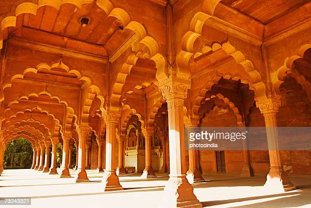 Colonnade inside a fort, Red Fort, New Delhi, India