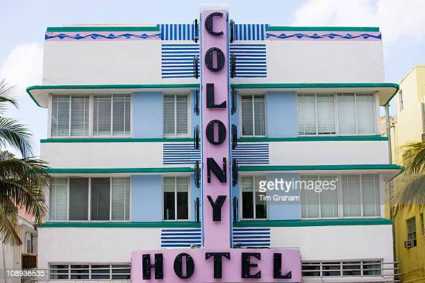 Colony Hotel art deco architecture on Ocean Drive South Beach Miami Florida United States of America