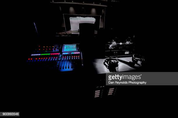 color and bw mix of professional equipment for digital recording, broadcasting, tv editing, and lighting equipment - post-production stock pictures, royalty-free photos & images