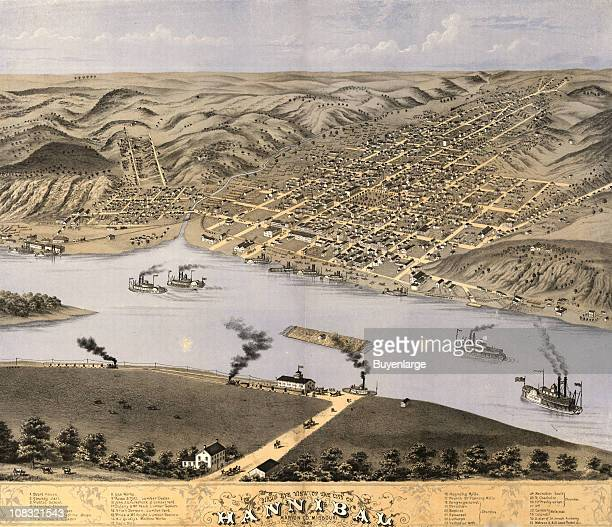 Color bird's eye view map of Hannibal Missouri 1869 Steamboats are visible on the waters of the Mississippi River Illustration by Ruger