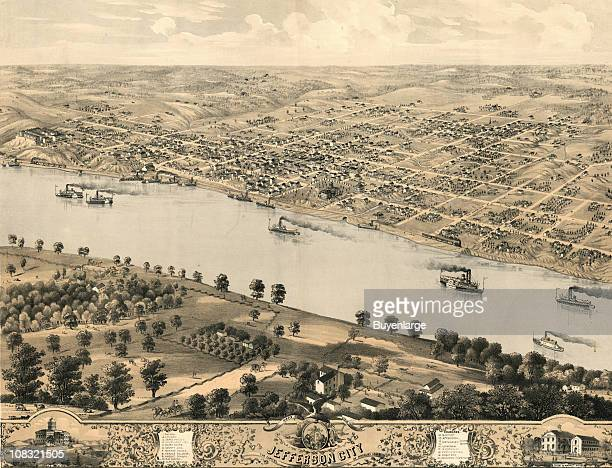 Color bird's eye view map of Jeffesron City the capitol of the state of Missouri 1869 Illustration by A Ruger