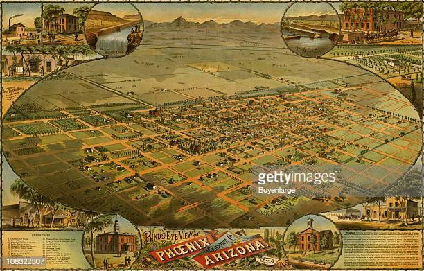 Color bird's eye view map of Phoenix Arizona 1885 Illustration by CJ Dyer
