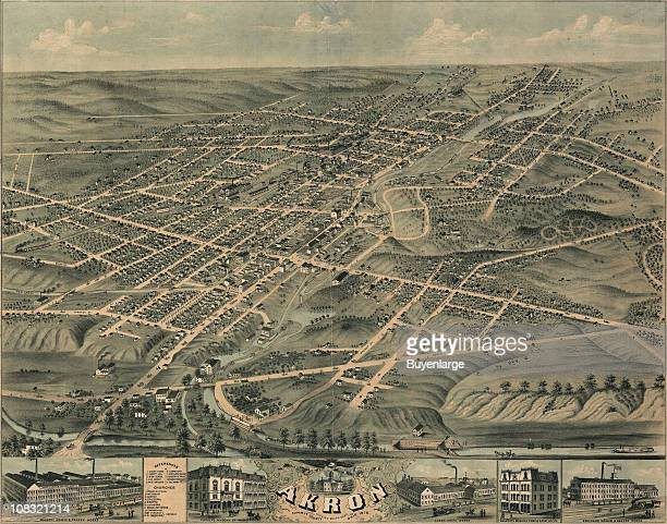 Color bird's eye view map of the city of Akron in Summit County Ohio 1870 Illustration by Ruger