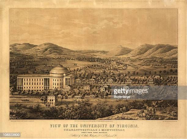 Color bird's eye view map of the University of Virginia Charlottesville and Monticello taken from Lewis Mountain 1856 Illustration by E Sachse Company