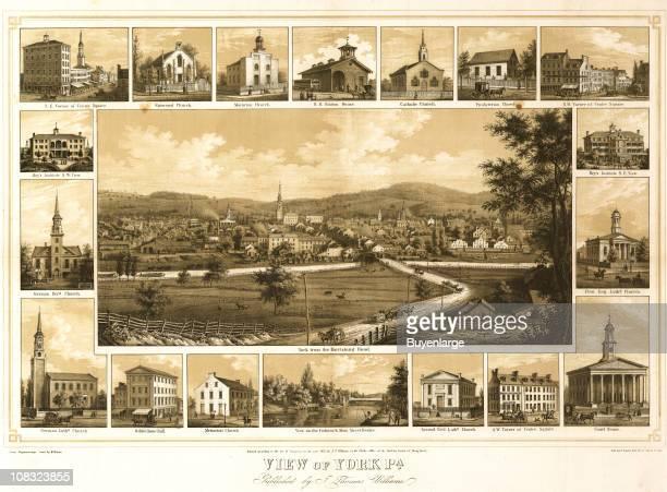 Color bird's eye view of York Pennsylvania ca 1890s