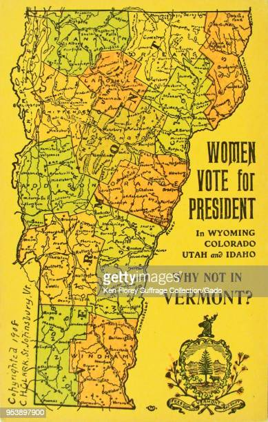 Color card depicting a political and physical map of the state of Vermont captioned 'Women vote for president in Wyoming Colorado Utah and Idaho why...